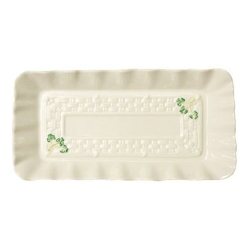 Belleek Classic Pottery White Tray with Painted Green Shamrocks 12.6 Inch