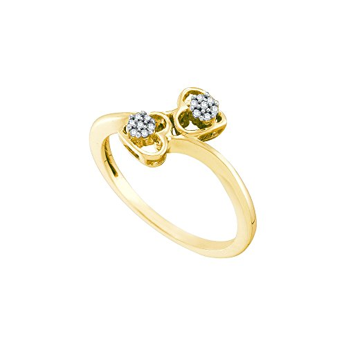 10kt Yellow Gold Womens Round Diamond Slender Double Heart Bypass Ring 1/20 Cttw by JawaFashion