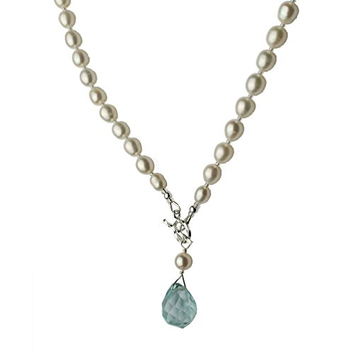 Joyful Creations Aqua Faceted Glass Briolette Freshwater Cultured Pearl Lariat Necklace Toggle Clasp, 18