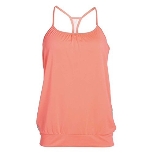 64dcc40bb97174 Zuma Blu Active Tank Top for Women - Spaghetti Strap Bike Top with Three  Pockets Coral
