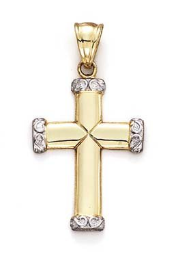 (14k Two-Tone Gold Large Cross Etruscan Ends Pendant)