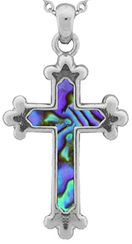 Abalone Christian Cross Shaped Pendant with 18 Inch Chain/2 Inch Extender (Abalone Cross Pendant)