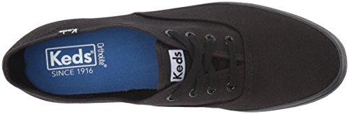 Keds Women's Champion Original Canvas Lace-Up Sneaker, Black/Black, 8.5 W US