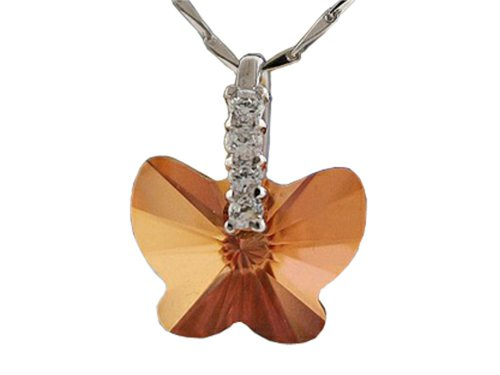 Finejewelers Dark Orange Color Crystal Butterfly Pendant Necklace made with Swarovski Elements on 18