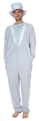 (Dumb and Dumber Light Blue Tuxedo One Piece Pajama with Top Hat (Adult)