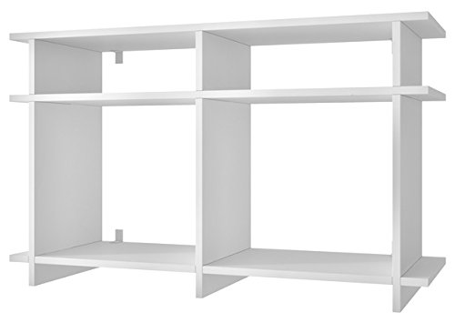 Manhattan Comfort Wellington Collection Modern Open Shelved Living Room Wall Mounted or Free Standing TV Stand, White