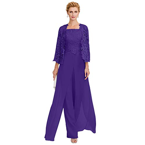 TS Pantsuit Straps Floor Length Chiffon Corded Lace Split Front Mother of The Bride Dress with - Two The Of Bride Piece Mother Dresses