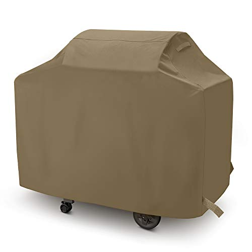 SunPatio Gas Grill Cover 48 Inch, Upgraded Heavy Duty Waterproof Outdoor Barbecue Cover with Sealed Seam, Durable FadeStop Material, All Weather Resistant for Weber Char-Broil Grills and More, Taupe