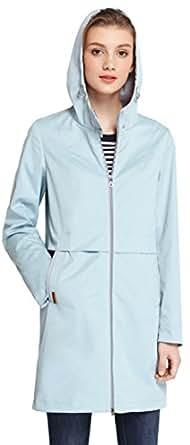 ICEbear Women's Waterproof Rain Jacket Mid-Length Casual Lightweight Hooded Anorak Jacket Cyan XXS