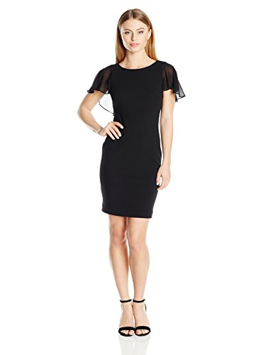 Calvin Klein Women's Petite Chiffon Flutter Sleeve Sheath Dress, Black, 4P by Calvin Klein
