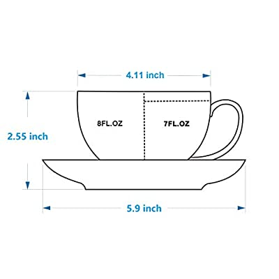 J-FAMILY Semigloss Process Professional Ceramic Coffee Cup and Saucer set,Porcelain Coffee Cup for Barista To Make Specialty Coffee,Cappuccino and Latte Cup,Coffee Cup,8 oz