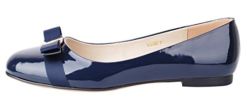 Verocara Women's Flat Round Toe with Bow-tie Casual Balleria Genuine Leather Shoes for Party and Office Navy PU 11.5 B(M) US (Ties For Tap Shoes compare prices)