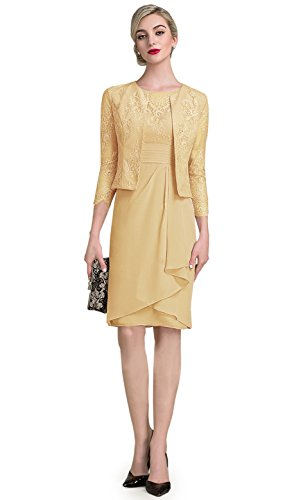 Buy gold tea length mother of the bride dress - 2
