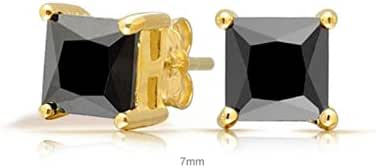 Bling Jewelry Black Square CZ Gold Plated Stud Earrings 925 Silver 5mm