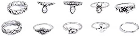 Andyle Bohemian Vintage Punk Ethnic Silver Rings for Women Joint Knuckle Ring Set 10pcs