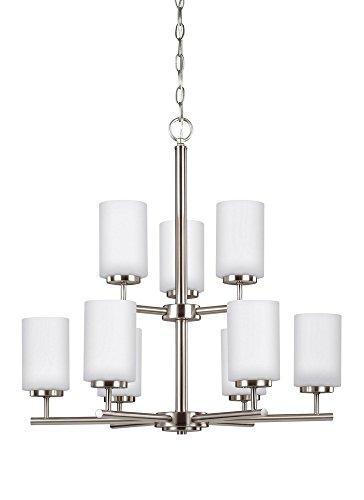 Sea Gull Lighting 31162-962 Nine Light Chandelier, Brushed Nickel