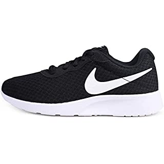 NIKE Women's Tanjun Running Shoes, Black Black White 011, 8.5