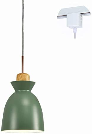 STGLIGHTING Wooden Socket Pendant Light H-Type Track Light Pendants 3.2 ft Cord Macaron Green Lampshade Light Fixtures Nordic Minimalist Lighting Loft Style Lamps for Dining Room Bulbs Not Included