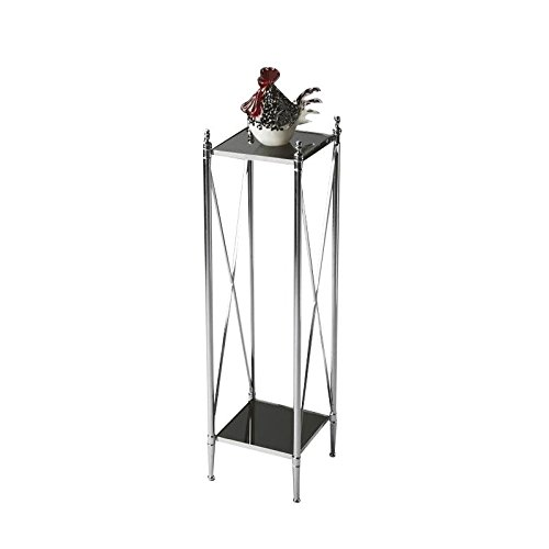 Butler Specialty Company Polished Aluminum/Black Mirror Pedestal Plant Stand For Sale