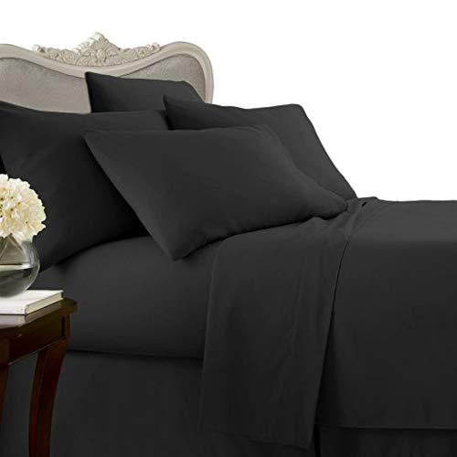 Luxurious BLACK Solid / Plain, QUEEN Size. EIGHT (8) Piece GOOSE DOWN Comforter BED IN A BAG Set. 1500 Thread Count Ultra Soft Single-Ply 100% Egyptian Cotton. INCLUDES 4pc BED SHEET Set, 3pc DUVET SET & GOOSE DOWN Comforter