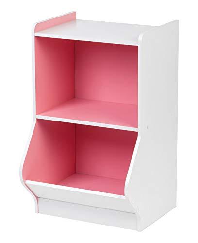 (IRIS 2-Tier Storage Organizer Shelf with Footboard, White and Pink)