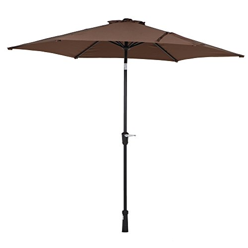 Grand Patio 9 Ft Outdoor Market Table Aluminum Patio Umbrella  With Crank   Tilt Push Button  With Wind Vent  Light Brown