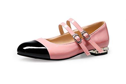 AllhqFashion Damen Schnalle Niedriger Absatz Blend-Materialien Gemischte Farbe Rund Zehe Pumps Schuhe Pink