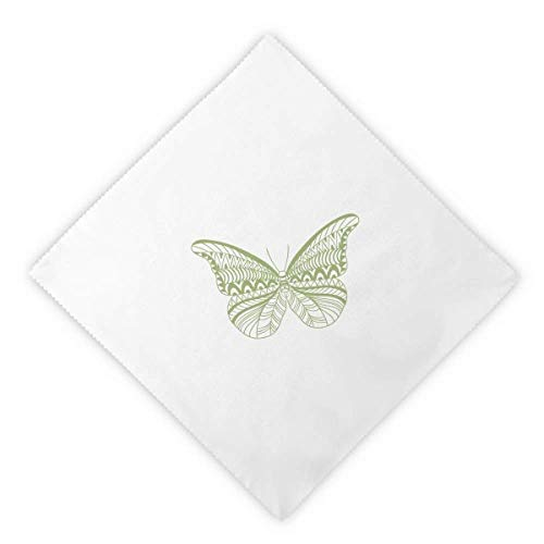 Kite Butterfly Clothing (DIYthinker Green Butterfly Kite Dinner Napkins Lunch White Reusable Cloth 2pcs)
