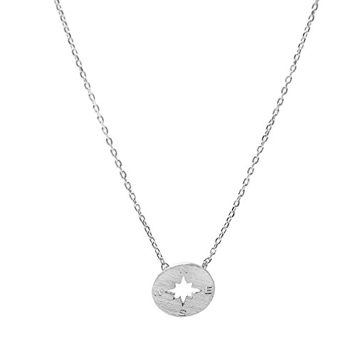 Spinningdaisy Handcrafted Brushed Compass Necklace