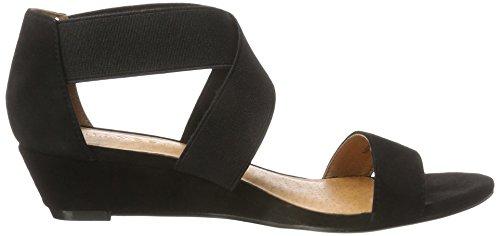 Bianco Sandale Mit Elastik Und Kleinem Keil - Sandalias con Cuña Mujer Schwarz (Black)