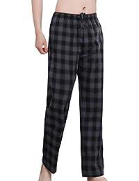 Men's Pajama Pants Comfy Mens Plaid Pajama Pants 100% Cotton Pajama Pants for Men