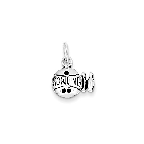 .925 Sterling Silver Antiqued Bowling Ball and Pins Charm Pendant ()