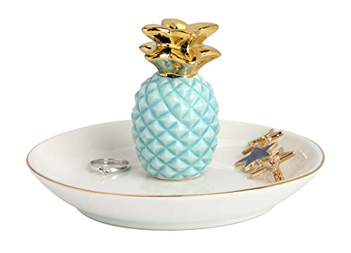 Luxury Porcelain Pineapple Ring Holder, Ananas Ceramic Jewelry Tray, Bracelets Plate, Dessert Dish - Perfect for Holding Small Jewelries, Rings, Necklaces, Earrings, Bracelets, Trinket, Green Color
