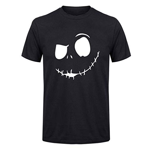 Mens Summer T-Shirt New Evil Smile Face Printed Round Collar Comfortable Top Black