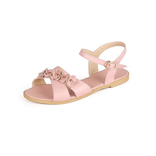 Buckle Heel Open Soft Material Sandals Solid Pink Toe AllhqFashion No Womens BgwqIg8