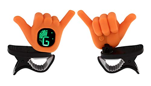 Hang Loose Shaka Hand Gesture Chromatic Clip On Tuner for Ukulele, Guitar, Bass, Violin (Orange)