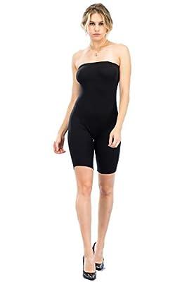 BEYONDFAB Women's Biker Short Pant Tube Jumpsuit One Piece Short Catsuit