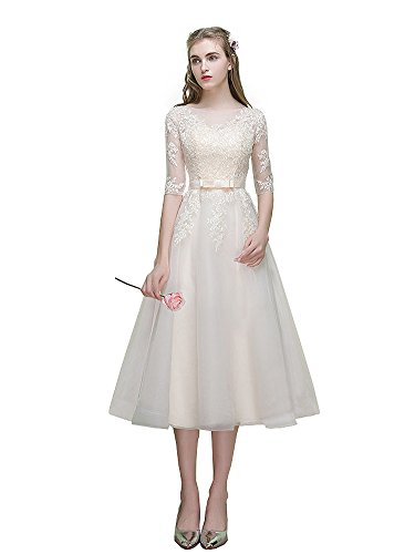 ef988768e209 Mypuffgirl Women's Tulle Bateau 3/4 Sleeves Tea Length Foraml Party Dress  With Lace Appliques at Amazon Women's Clothing store: