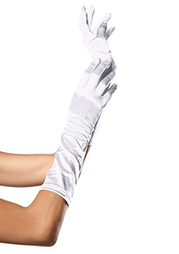 Leg Avenue Women's Elbow Length Satin Gloves, White, One Size