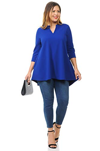Pastel by Vivienne Women's A-Line Tunic Top with Mao Collar Plus Size XX-Large Royal Blue