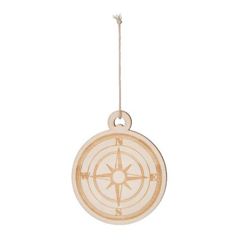 Family Crafty Kids Unfinished Wood Nautical Ornament Compass Pack of 3
