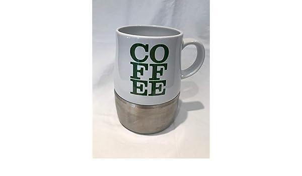 2006 Starbucks Coffee White Barista Mug Stainless Steel Metal Bottom