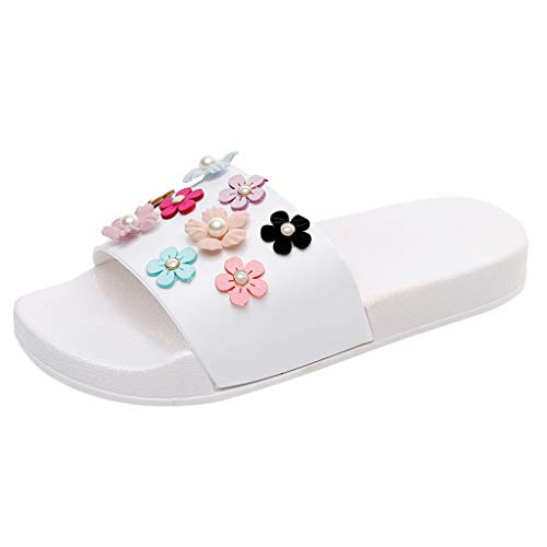Hot!Ninasill Woman Pearl Cloth Flower Beach Slippers Solid Color Flat Heel flip Flops Bohemia Sweet Outdoor flip Flop White ()