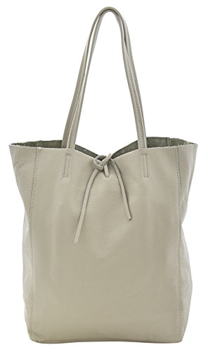 Price comparison product image AMBRA Bag Shopper Shoulder Bag School Bag Italian Handbags Genuine Leather Made in Italy-White