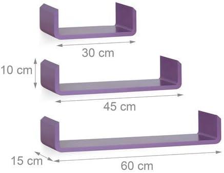 violet Relaxdays 10021809/_131 /Étag/ère tablette flottante murale en forme de U lot de 3 en MDF compartiment color/é