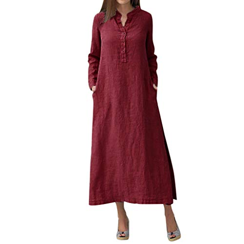 aihihe Button Down Dress for Womens Kaftan Cotton Linen Long Sleeve Solid Loose Casual Shirt Maxi Dress(Red,S) -