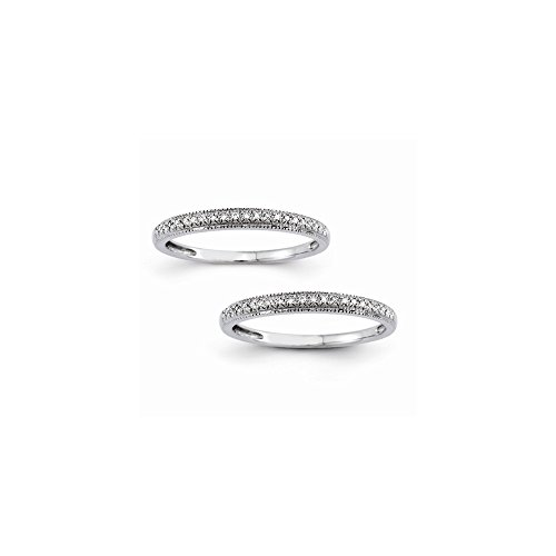 14k Semi-Mounting Set Of 2 Wg Wedding Bands, No Center Stone Included