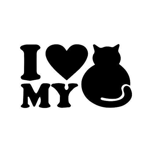 ANGDEST I Love My CAT (Black) (Set of 2) Premium Waterproof Vinyl Decal Stickers for Laptop Phone Accessory Helmet Car Window Bumper Mug Tuber Cup Door Wall -
