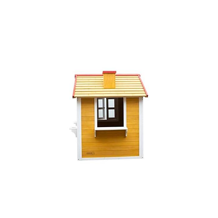 31Uqgr7Os5L La casita Visby es una preciosa casita con unos colores que a los niños les encantará. Son colores muy cálidos y agradables que harán de esta casita un lugar del que no salir. La casita Visby es de un tamaño compacto, apta para cualquier jardín o patio particular. La casita Visby tiene muchos detalles que darán vida a esta casa. Desde sus ventanas fijas y practicables hasta los maceteros o incluso una chimenea en su interior! La casita Visby parece una casa de madera de verdad, un auténtico refugio donde sus sueños se harán realidad. La casita Visby está fabricada de madera de pino y está tratada para ser instalada al exterior. El montaje de la casita es fácil y te llevará poco tiempo. En unos minutos tendrás la casita Visby montada y lista para instalar en cualquier espacio de tu jardín y a punto para que jueguen con ella durante horas y horas.