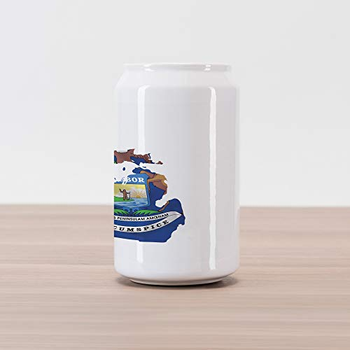 Lunarable Michigan Cola Can Shape Piggy Bank, Great Lakes State Map with Flag Wolverine Elk and Moose Eagle Sun Lake, Ceramic Cola Shaped Coin Box Money Bank for Cash Saving, Cobalt Blue Multicolor ()